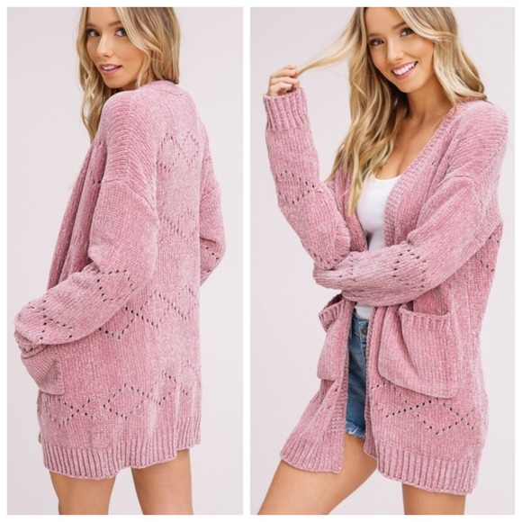 Kalli Collection Sweaters Last One New Blush Pink Chenille